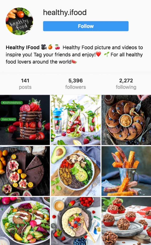 healthy food instagram account with real followers